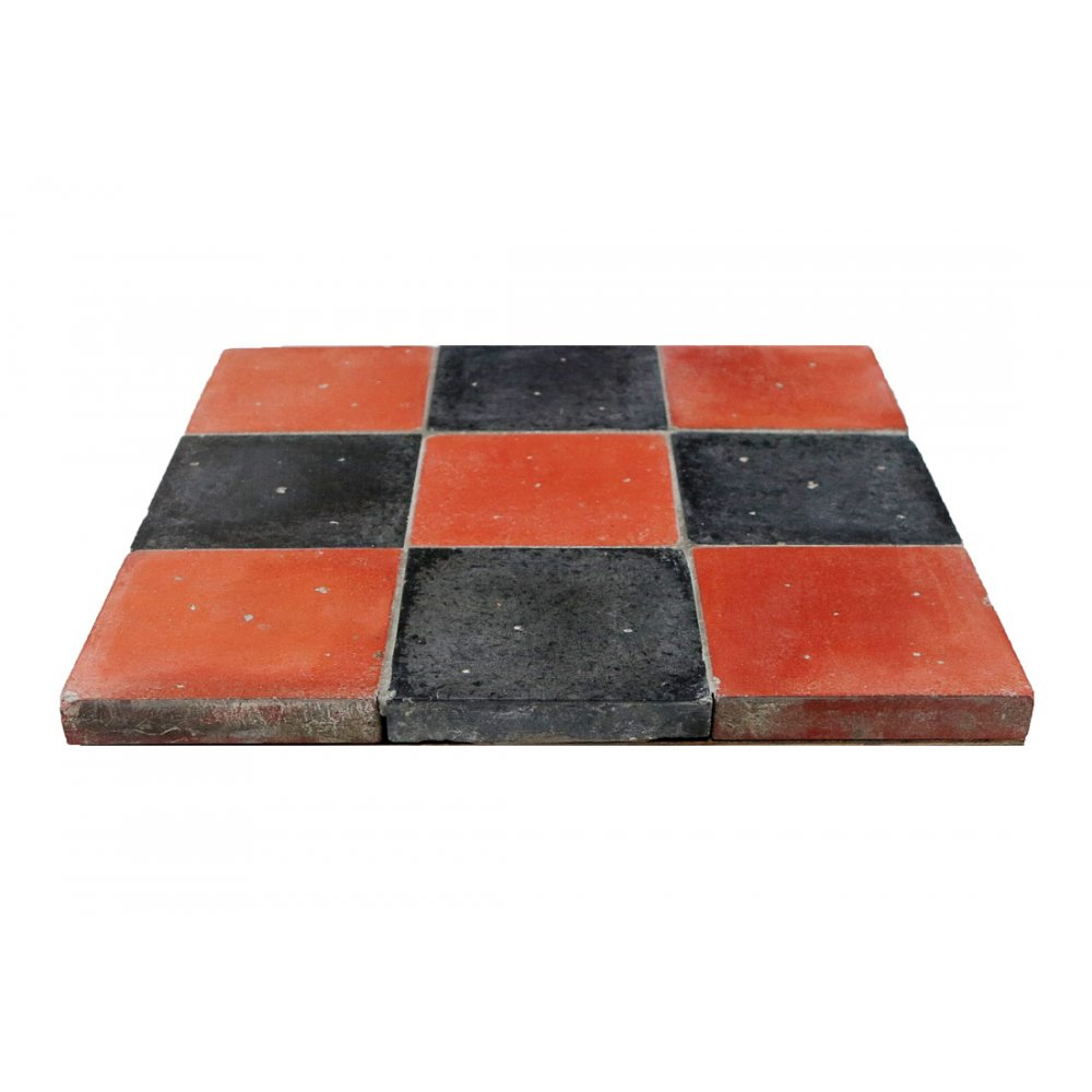 10 x six inch 6 red black reproduction original victorian for 10 inch floor tiles