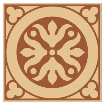 Olde English 100mm Square Fully Encaustic Tile in Red and Cognac