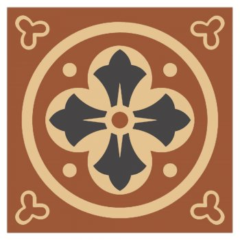 Olde English 100mm Square Fully Encaustic Tile in Red, Black and Cognac