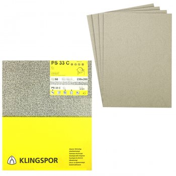 Klingspor 230mm x 280mm Paper Back Paint/Varnish/Wood Sanding Sheets - PS 33 B/C