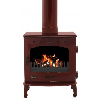 Carron 7.3KW Solid Fuel Stove - Red Enamel
