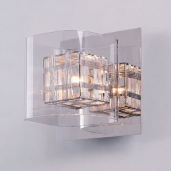 Impex Lighting Avignon Glass / Weaved Wire Cube Wall Light