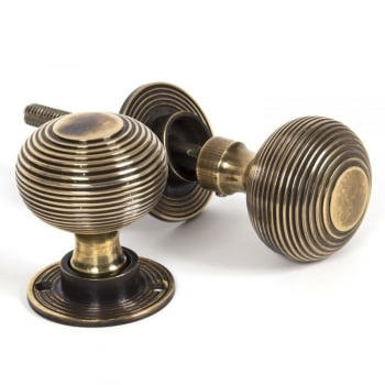 From the Anvil Beehive Heavy Mortice/Rim Knob Set - Antique Brass