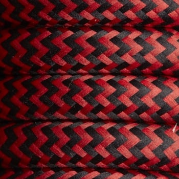 Industville Black & Red Round Fabric Flex - Braided Cloth Cable Lighting Wire