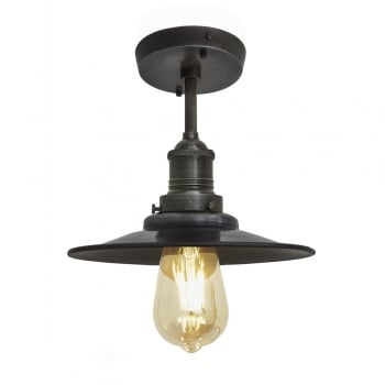 Industville Brooklyn Antique Flat Industrial Flush Mount Light - Dark Pewter