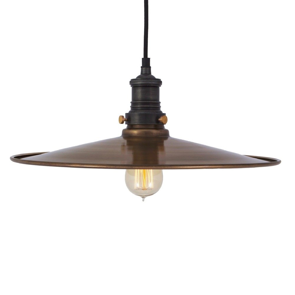 Old Industrial Pendant Light: Antique Flat Industrial Pendant Light