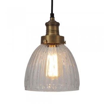 Industville Brooklyn Vintage Antique Ribbed Glass Retro Cone Pendant- 7 inch