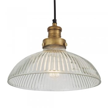 Industville Brooklyn Vintage Antique Ribbed Glass Retro Dome Pendant - 12 inch