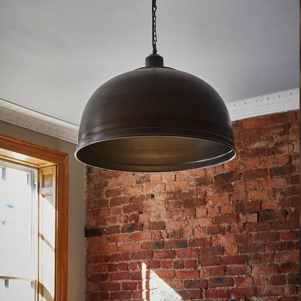 Brooklyn vintage metal giant dome pendant light dark pewter 235 view all industville mozeypictures Image collections