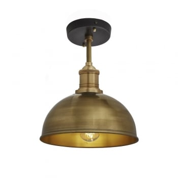 Industville Brooklyn Vintage Small Metal Dome Flush Mount Light - Brass - 8 inch