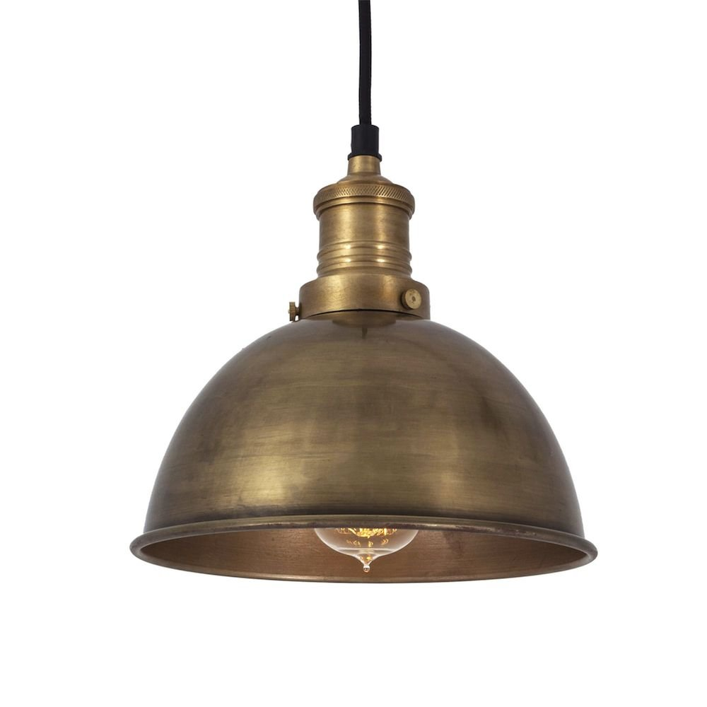 Vintage Small Metal Dome Brass Pendant Light 8 Inch