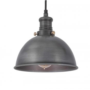 Industville Brooklyn Vintage Small Metal Dome Pendant Light - Dark Pewter - 8 inch
