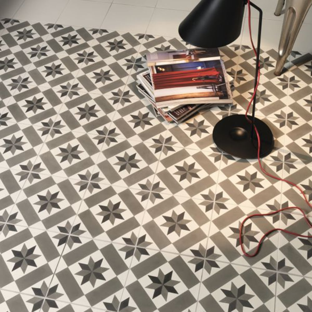 Capietra Cement Encaustic Chelsea Pattern Tile Flooring From