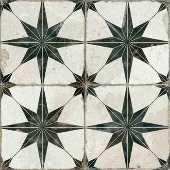 Ca'Pietra Spitalfields Retro Star Pattern Tile - Black