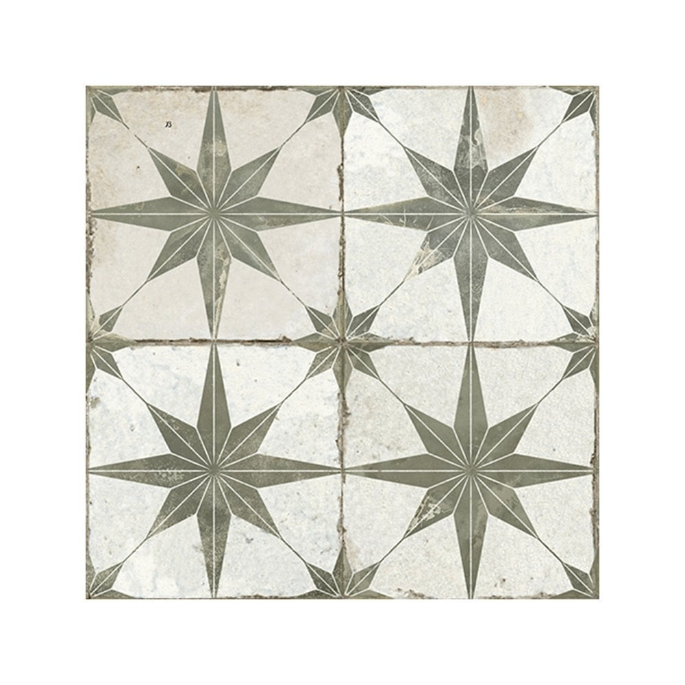 Ca Pietra Spitalfields Retro Star Pattern Tile Sage Walls Floors From Period Property Store Uk