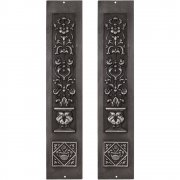 Pair Cast Iron Fireplace Panel Inserts - RX080