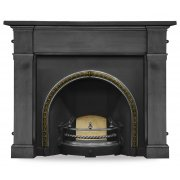 The Kensington Cast Iron Fireplace Insert - Brass Trim