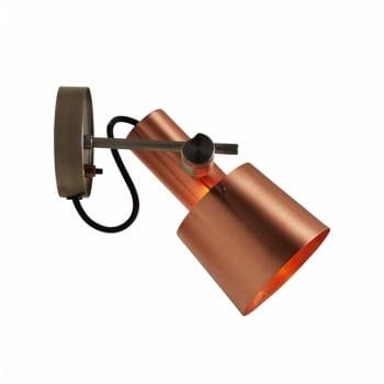 Original BTC Chester Wall Light - Satin Copper, Black Braided Cable