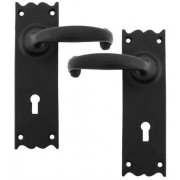 Cottage Lever Lock, Latch, Bathroom and Espag. Sets - Black
