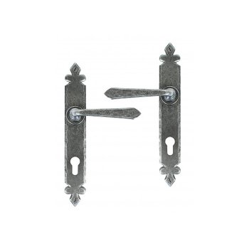 From the Anvil Cromwell Lever Espag. Lock Set - Pewter Patina