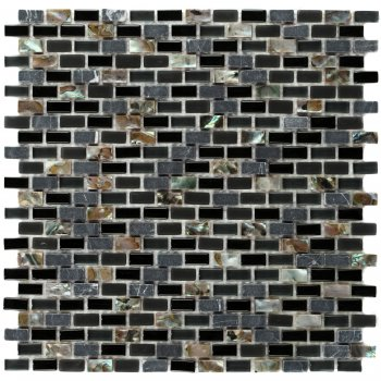Marshalls Tile & Stone Dahli Black Brick Mosaic Tiles