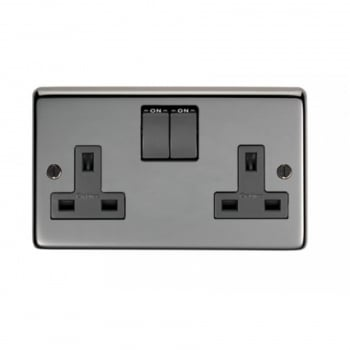 From the Anvil Double 13amp Switched Socket - Black Nickel