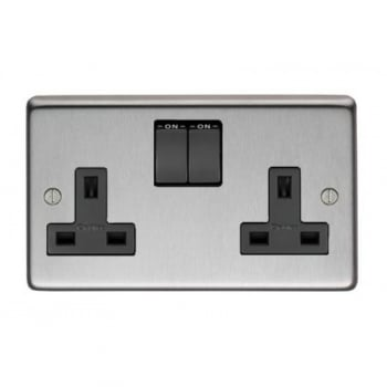 From the Anvil Double 13amp Switched Socket - Satin Stainless Steel