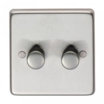 From the Anvil Double 400W Dimmer Switch - Satin Stainless Steel