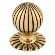 Flower Mortice Knob Set - Polished Brass