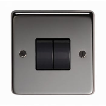 From the Anvil Double 10amp Switch - Black Nickel