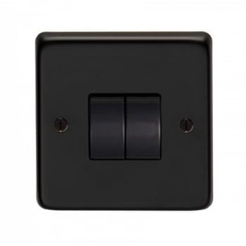 From the Anvil Double 10amp Switch - Matt Black