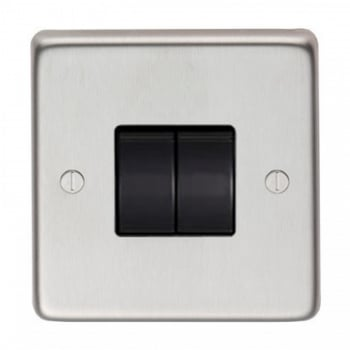 From the Anvil Double 10amp Switch - Satin Stainless Steel