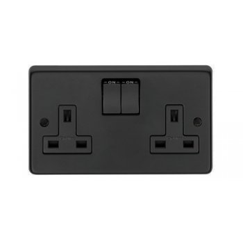 From the Anvil Double 13amp Switched Socket - Matt Black