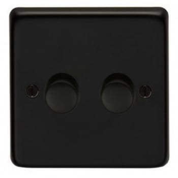 From the Anvil Double 400W Dimmer Switch - Matt Black