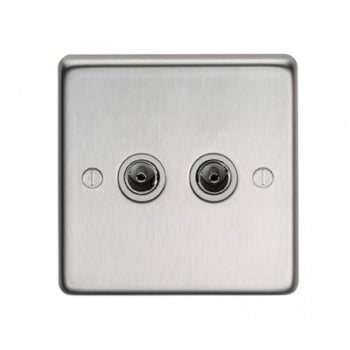 From the Anvil Double TV Socket - Satin Stainless Steel