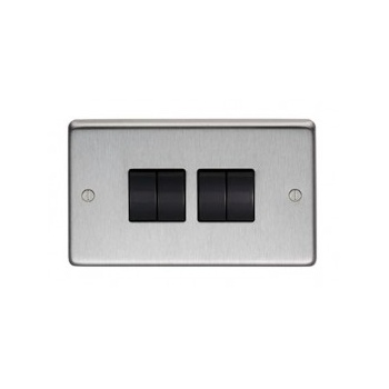 From the Anvil Quad 10amp Switch - Satin Stainless Steel