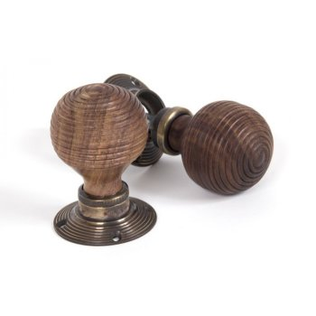 From the Anvil Rosewood Mortice/Rim Beehive Knob Set - Antique Brass Roses