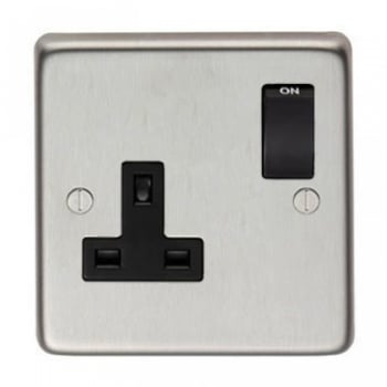 From the Anvil Single 13amp Switched Socket - Satin Stainless Steel