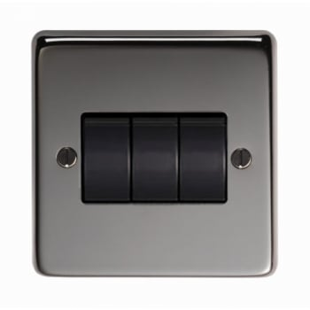 From the Anvil Triple 10amp Switch - Black Nickel