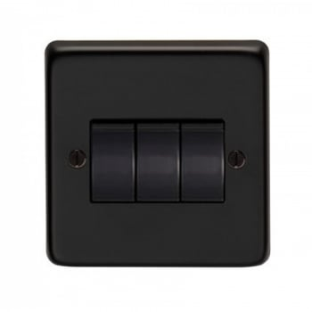 From the Anvil Triple 10amp Switch - Matt Black