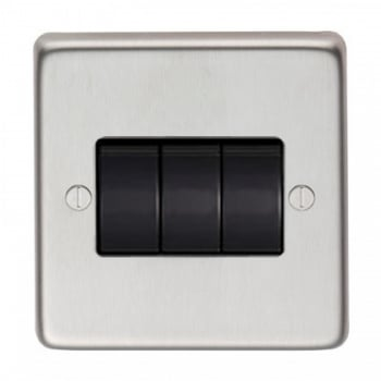 From the Anvil Triple 10amp Switch - Satin Stainless Steel