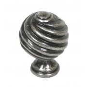Handmade Cupboard Twist Knob - Pewter Patina