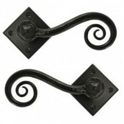 Handmade Monkeytail Unsprung Handle Set on Diamond Rosette - Black