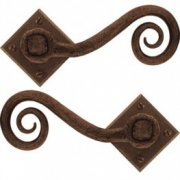 Handmade Monkeytail Unsprung Handle Set on Diamond Rosette - Bronze