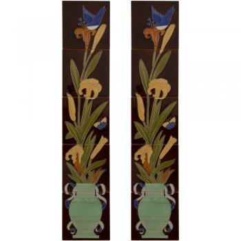 Carron Handpainted Tube Lined Fireplace Tile Set (10) - LGC086