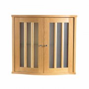 Oxford Linea Wall Cabinet with 2 Curved Fronted Wood/Frosted Glass Doors
