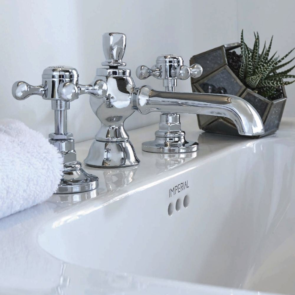 Victorian 3 Hole Extended Basin Mixer 135mm