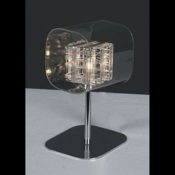 Impex Lighting Avignon Glass / Weaved Wire Cube Table Light