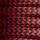 Black & Red Round Fabric Flex - Braided Cloth Cable Lighting Wire