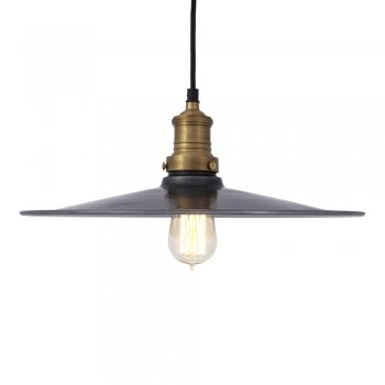 Industville Brooklyn Antique Flat Industrial Pendant Light - Dark Pewter - 15 inch